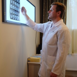 Portrait of a doctor with roentgenogram