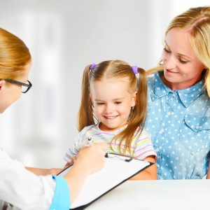 visit mother and child to the doctor pediatrician